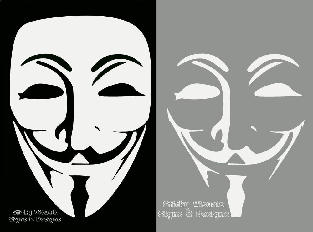 Anonymous mask and face guy fawkes 2 white decal sticker custom new