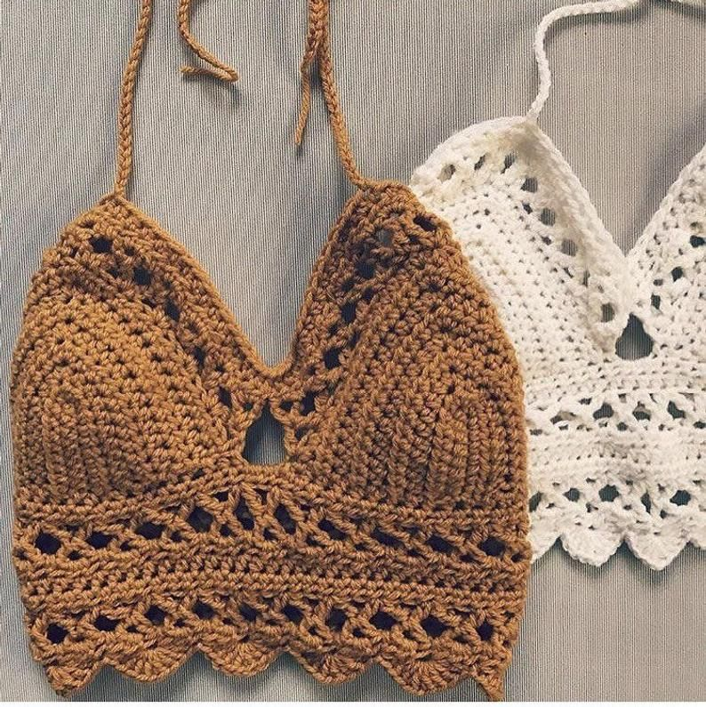 Handmade Hand Crochet Clear Brown Crop Top for Yoga Back and Neck Tie Crochet Top For Summer or Beach Bohemian Crochet Crop Top for Yoga