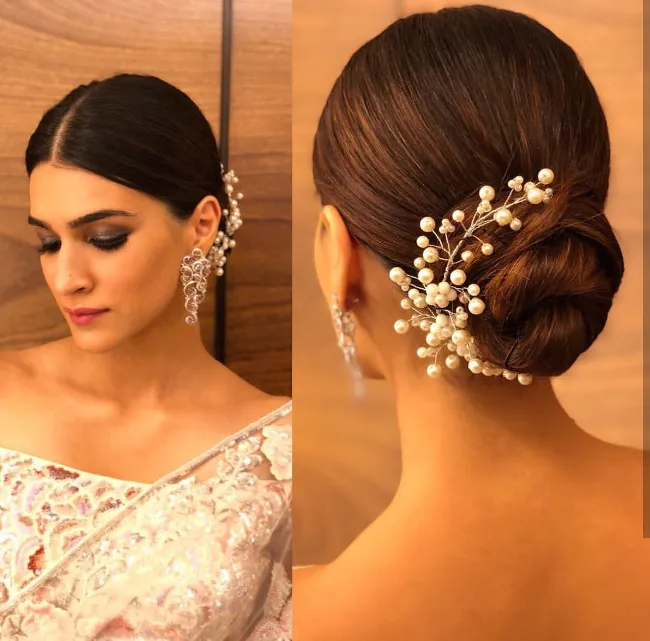 Bun Hairstyle With Saree For Short Hair In 2020 Hair Style On Saree Simple Hairstyle For Saree Bridal Hair Buns