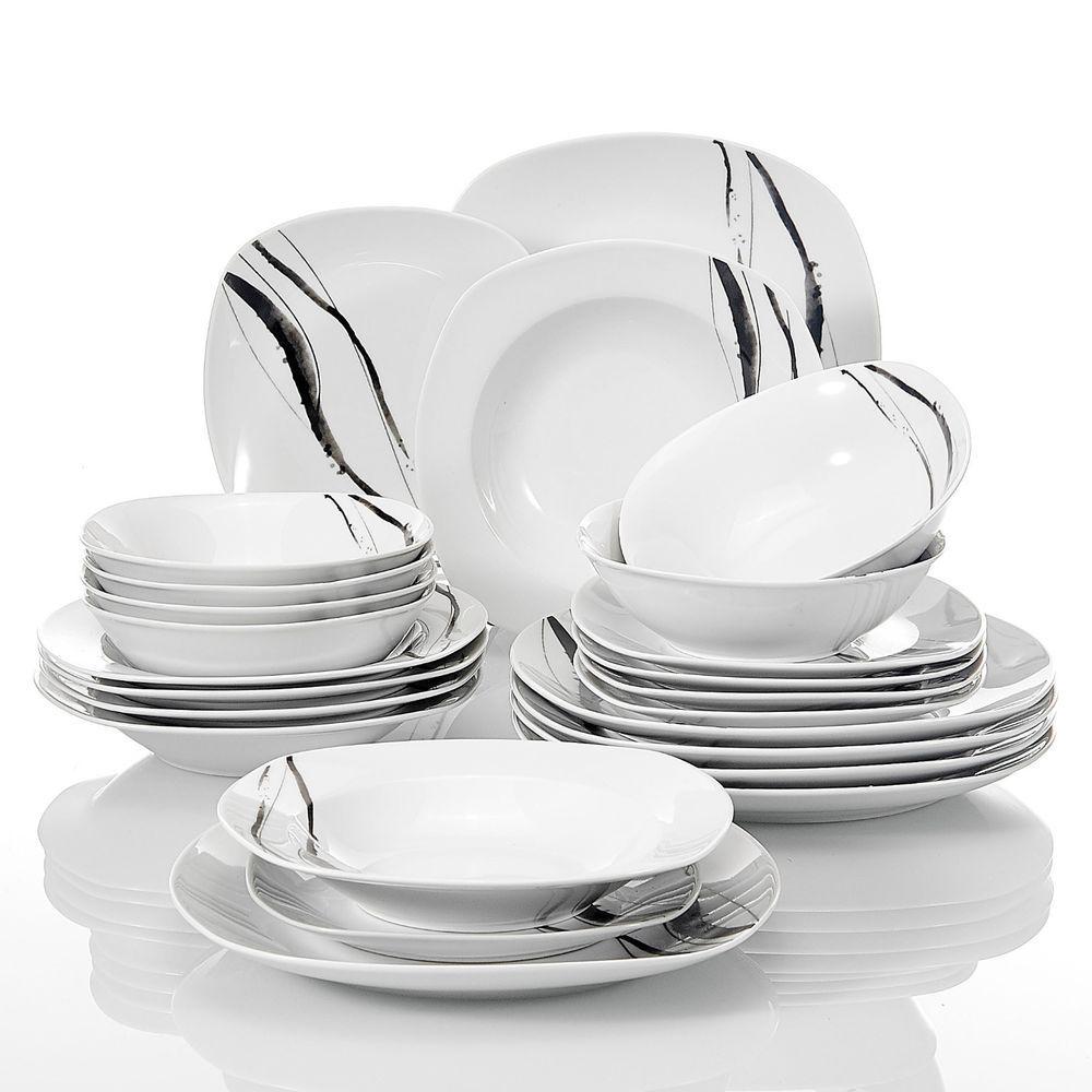 PERFECT DINNERWRE COMBI-SET - Porcelain 24-Piece Essentials Dinnerware Service Set for 6  sc 1 st  Pinterest & TERESA 24-Pieces Porcelain Dinner Set Home Kitchen Tableware Dessert ...