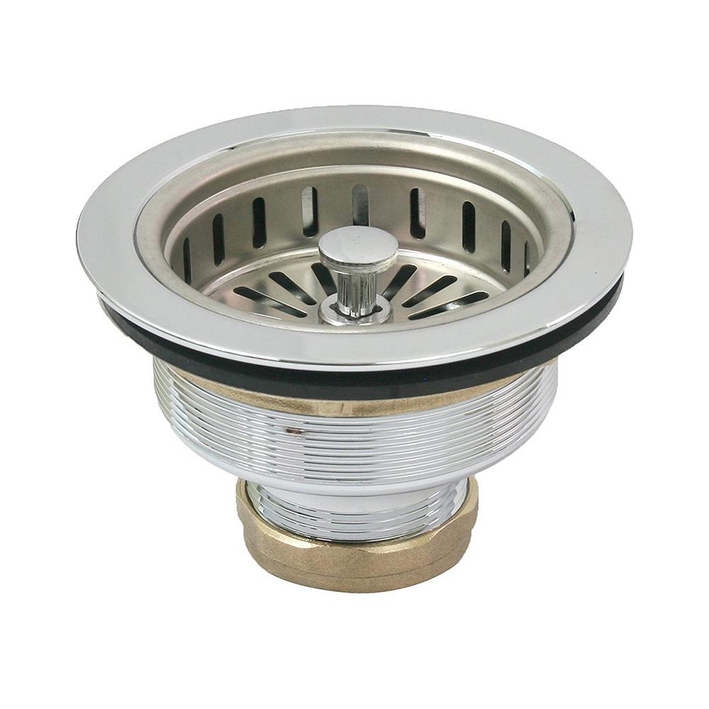 The Plumber S Choice 3 1 2 In 4 In Heavy Duty Kitchen Sink Stainless Steel Drain Assembly With Strainer Basket Kohler Style Stopper Ess3157 The Home Depot Stainless Steel Kitchen Sink Sink Strainer Sink