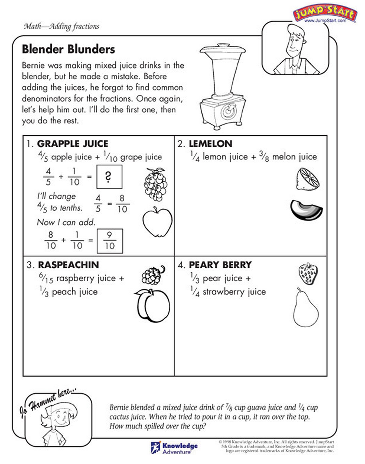 Fractions in the kitchen! Kids math worksheets, Math