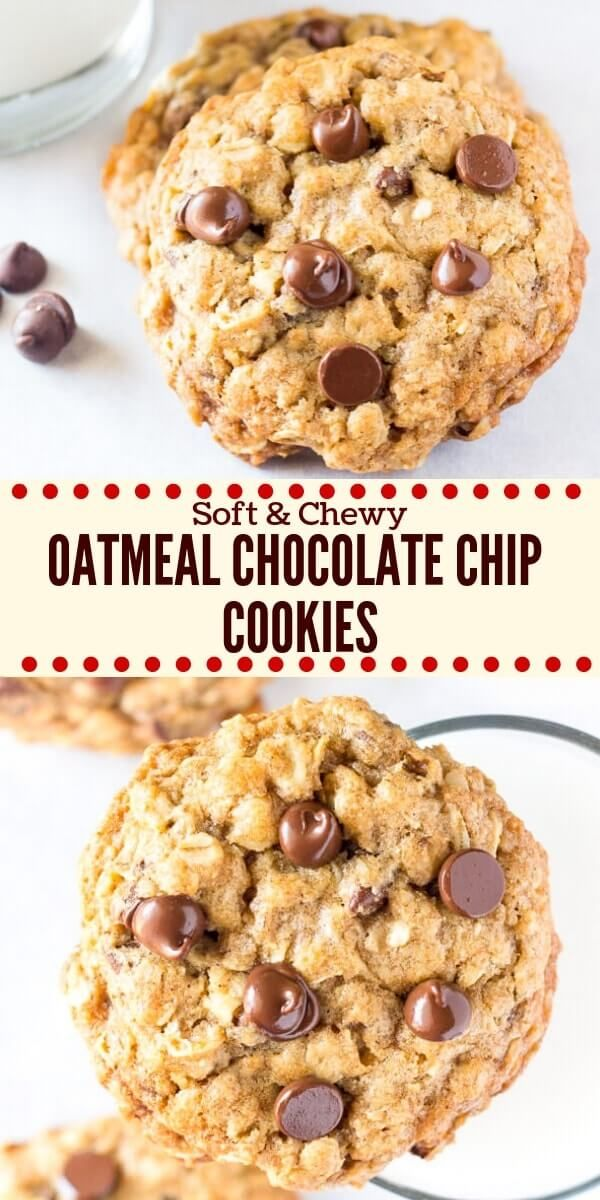 These soft and chewy oatmeal chocolate chip cookies are made with brown sugar, old fashioned oats, chopped walnuts & lots of chocolate chips for the perfect bakery-style cookie. You'll love how easy they are to make #oatmealchocolatechipcookies #chocolatechipcookies #oatmealcookies #easyrecipes #cookies #kids
