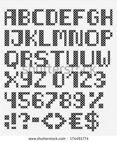 stock-vector-cross-stitch-uppercase-english-alphabet-with-numbers-and-symbols-isolated-on-white-cloth-texture-174491774.jpg (389×470)