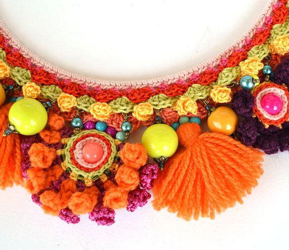 Reservados naranja collar étnico collar grueso por Marmotescu