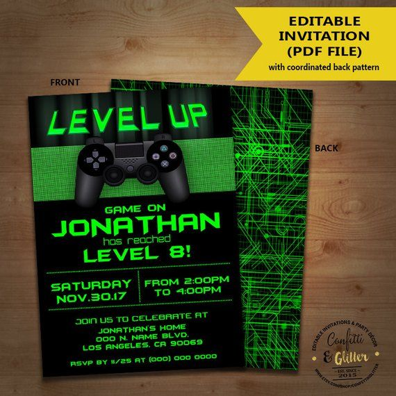 Level Up Video Game Birthday Party Invitation Game On Invite Gaming