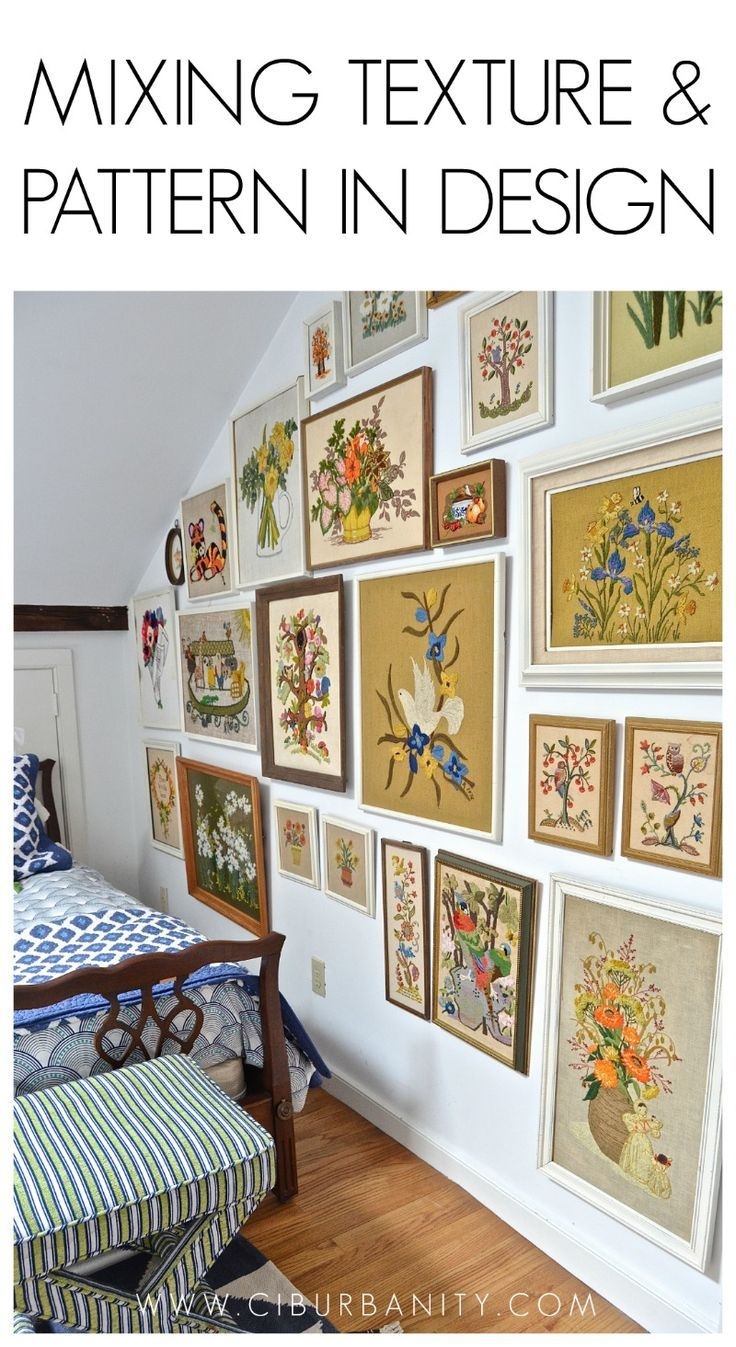 Color of art gallery walls - Guest Bedroom With Mixed Patterns And Textures Gallery Wall Of Embroidered Art
