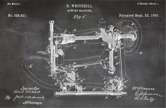 Blueprint Art of Patent Sewing Machine 1885Technical Drawings - copy rustic blueprint art