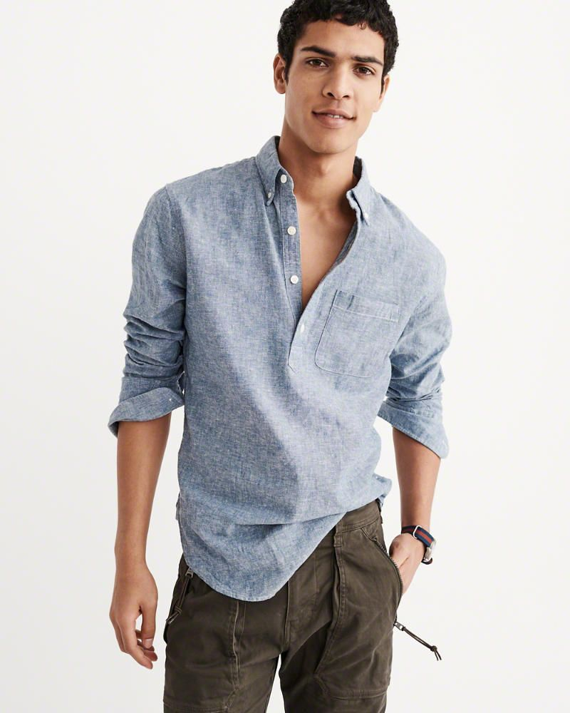 6a53e34c491 A F Men s Chambray Popover Shirt in Blue - Size XL