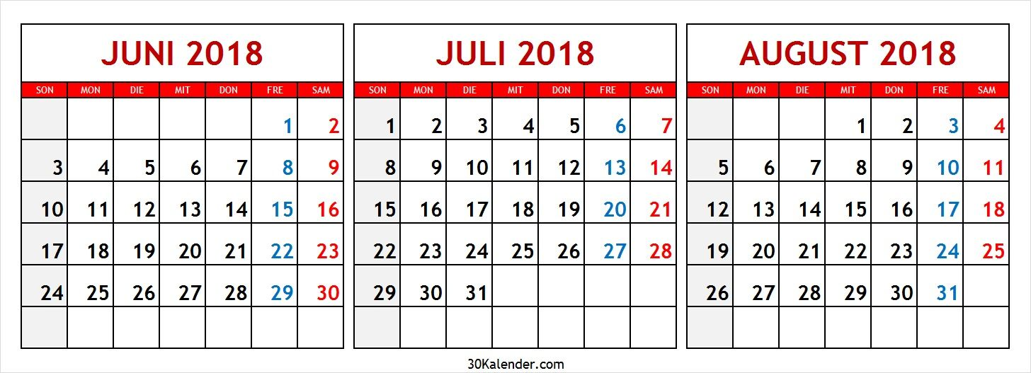 niedlich kalender juni juli august 2018 zum ausdrucken. Black Bedroom Furniture Sets. Home Design Ideas