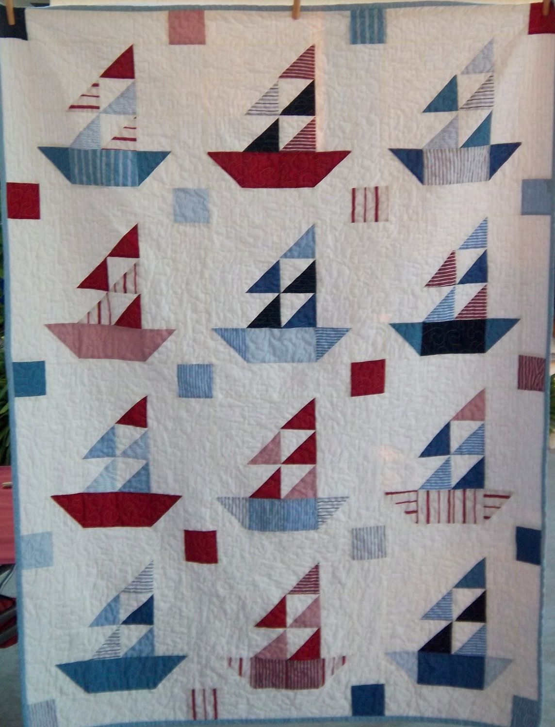 Dreamy Americana Sailboat Quilt by Dreamy Vintage Sheets on Etsy ... : sailboat quilt pattern - Adamdwight.com
