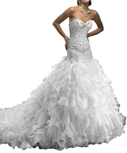 Audrey Bride Womans Chic Sweetheart Mermaid Wedding Dress with Ruffles Lace Up10White >>> Details can be found by clicking on the image.