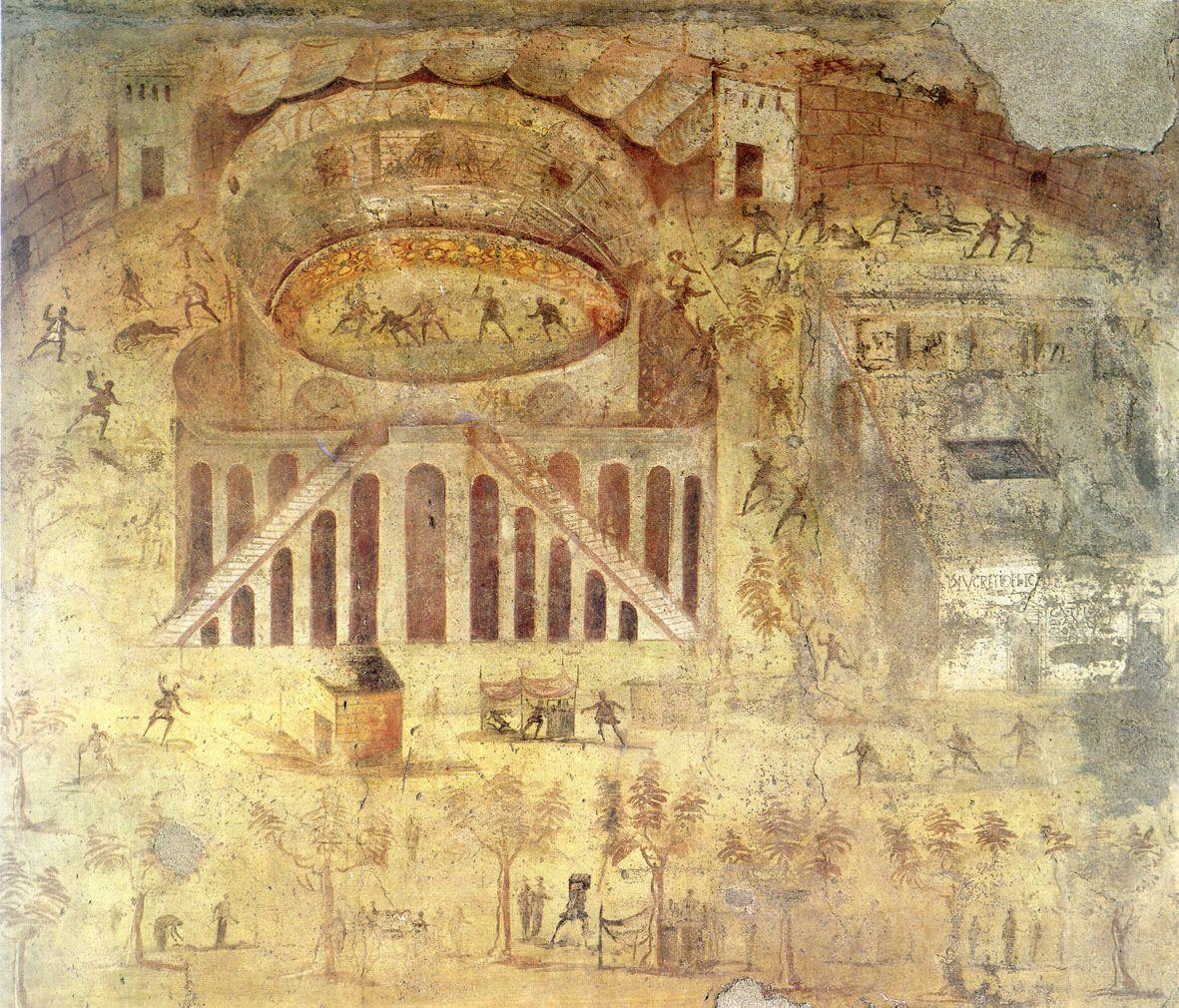 a pompeii amphitheatrum ábrázolása pompeii freskón | Wall Decoration ...