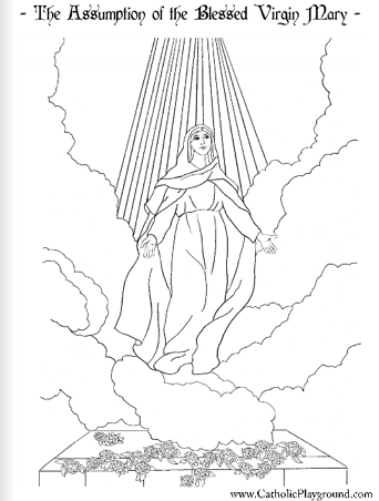 Feast of the Assumption coloring page: August 15th - Catholic ...
