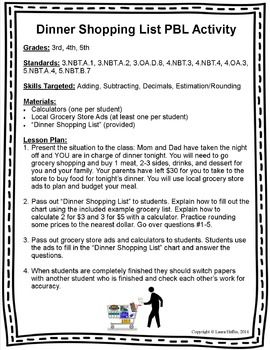 Dinner Shopping List Math PBL- 3rd, 4th, 5th- Common Core | MATH ...