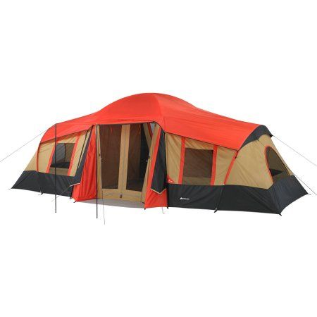 Ozark Trail 10 Person 3 Room Vacation Tent With Shade Awning Walmart Com 10 Person Tent Cabin Tent Tent