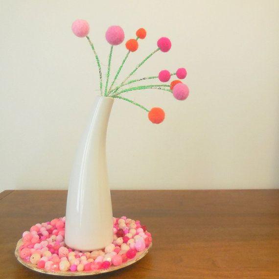 Pom pom flower decoration.Wedding bouquet.Table by berryisland