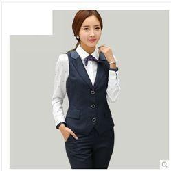 Online Shop Calidad moda para mujer delgada profesional camisa chaleco  pantalones de traje de tres piezas conjunto formal de la raya azul m…  8ce7ff8bf327