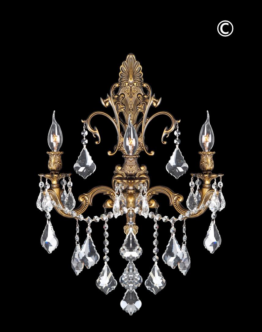 Americana 3 Light Wall Sconce Antique Brass Style Designer Chandelier Australia Pty Ltd