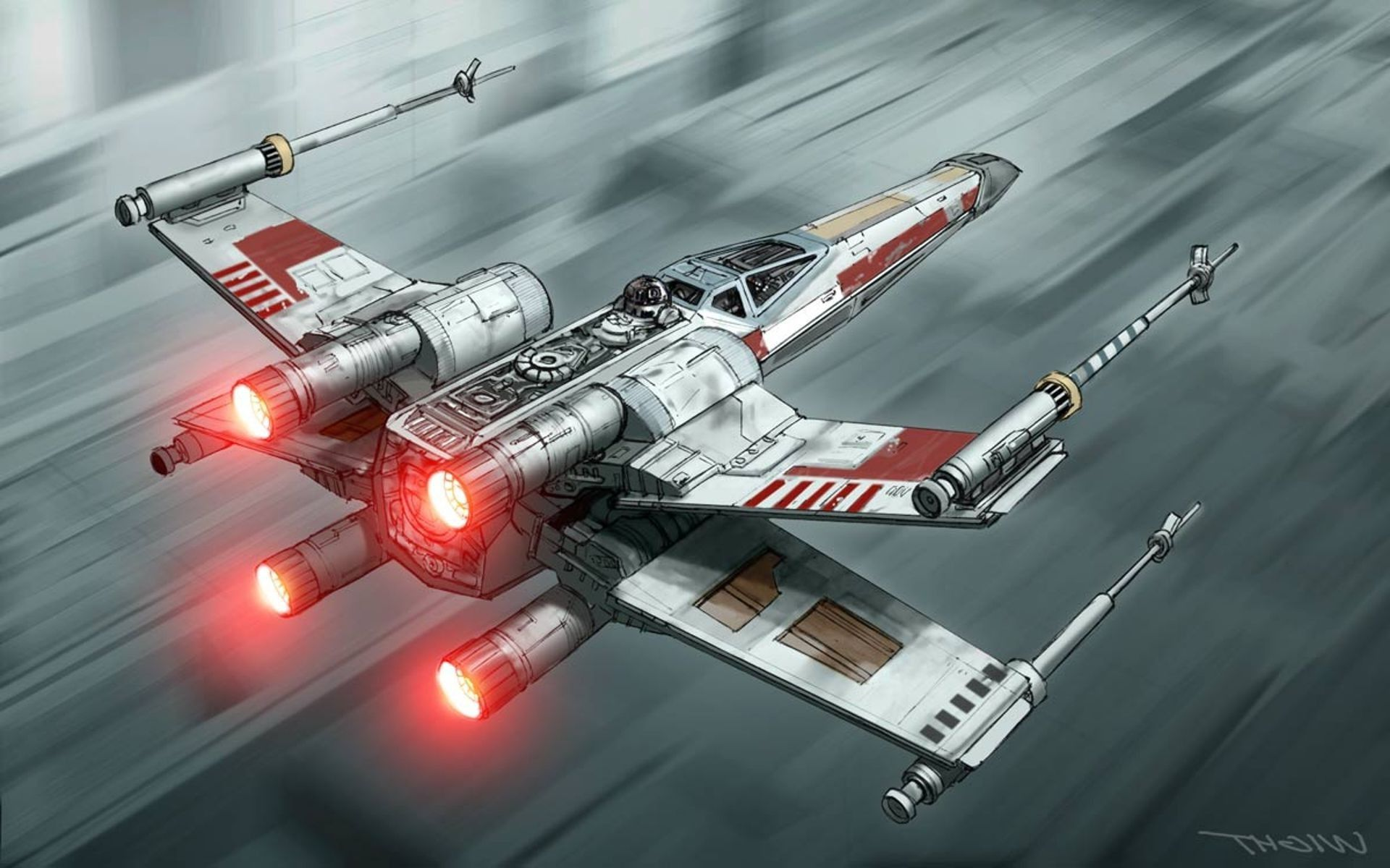 Xwing Starfighter Star Wars Fan Art Hd Wallpaper Wallpapersbyte Wings Wallpaper Star Wars Mural Star Wars Poster