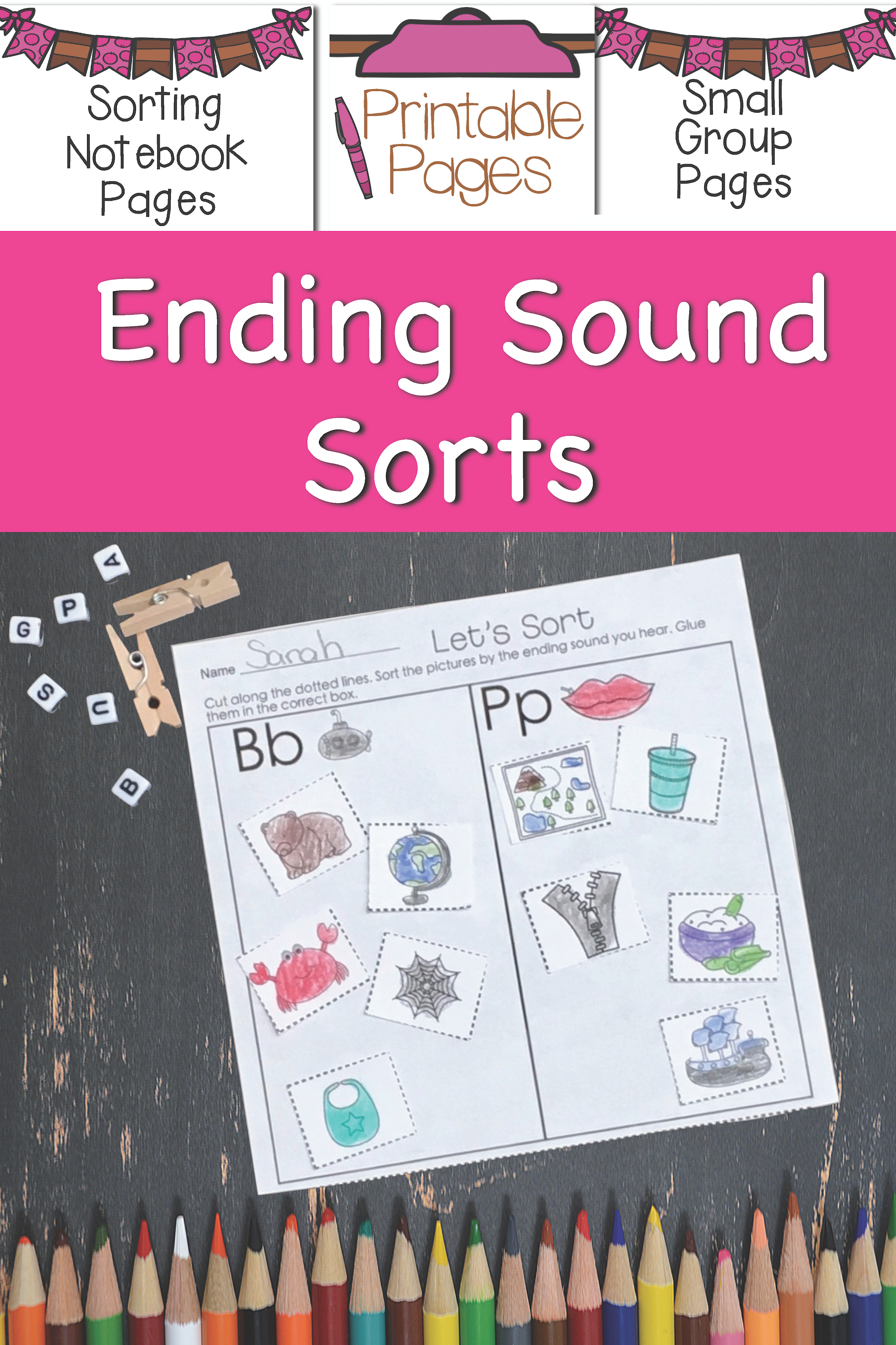 Ending Sound Activities Printables Literacy Stations
