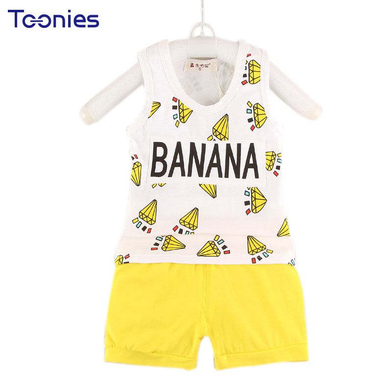 2057a5ae10f5 Summer Sleeveless Suit Boys And Girls Summer Wear Vest+Pants Suit For 0-1