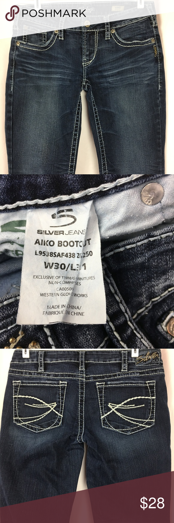48211d88 SILVER JEANS AIKO 30X29 Womens Bootcut Dark Wash SILVER JEANS AIKO 30X29 Dark  Wash Boot Cut
