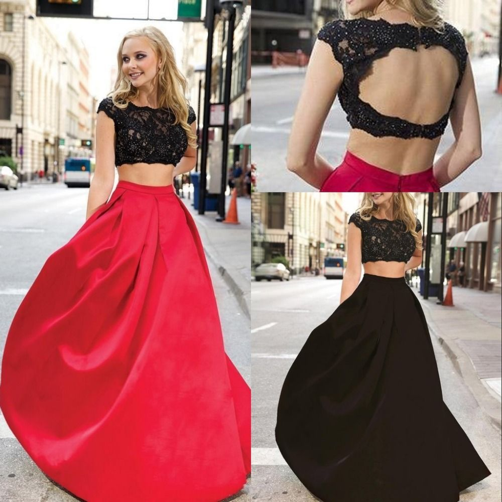 Long prom dresses pieces prom dressnew arrival sexy two piece