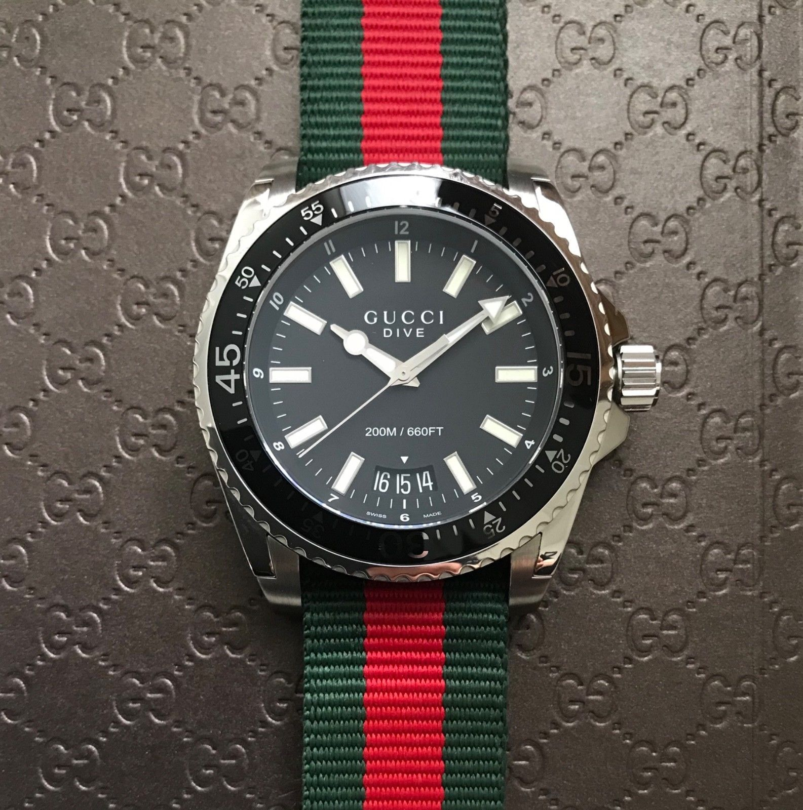 3f5652db9b590 Gucci 45mm Dive Watch on Green   Red Nylon Web NATO Strap YA136206 ...