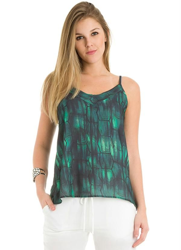 180f4c9ad Blusa Estampada com Alças Verde Malwee - Posthaus