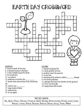 Earth Day Crossword Puzzle Color And Bw Versions Teaching