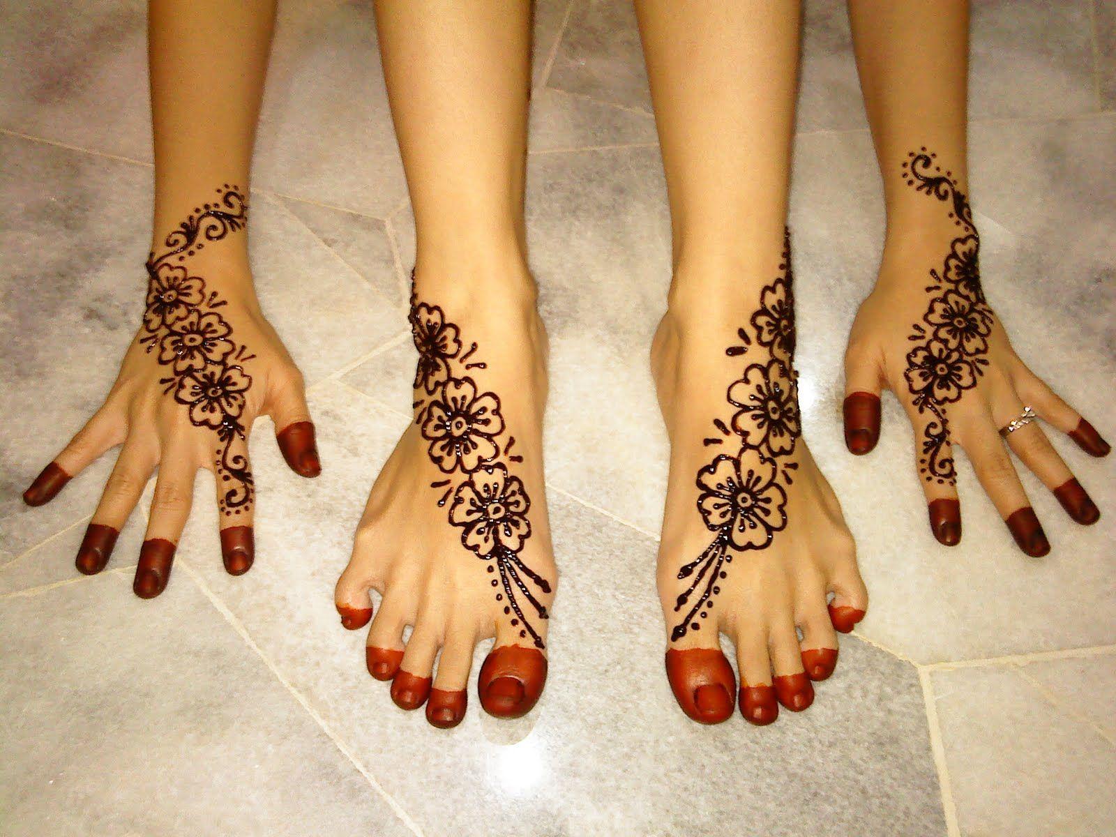 Mehndi Design Kaki : Seamless and same design for both feet hand foot mehndi