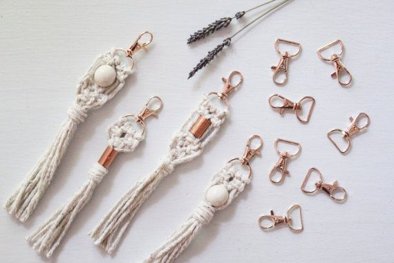 e0b225560 Mini Macrame Keychain / Natural White Cotton Rope / Rose Gold / Swivel  Lobster Clasp / Copper Accent
