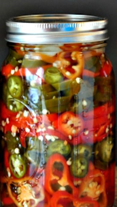 Refrigerator Pickled Hot Peppers The Creekside Cook Recipe Hot Pepper Recipes Stuffed Hot Peppers Stuffed Peppers