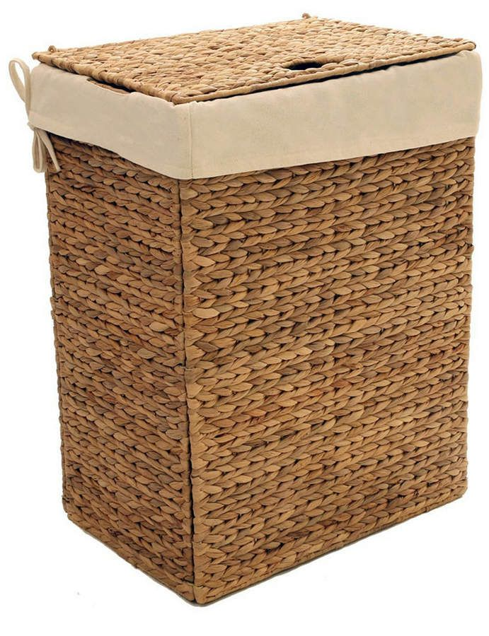 Seville Classics Foldable Water Hyacinth Portable Hamper Wicker