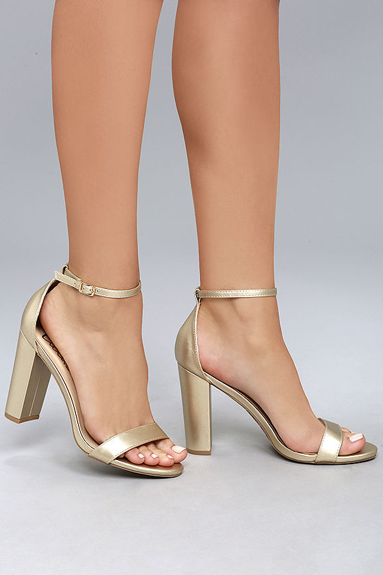 343262b660d Lulus | Taylor Gold Ankle Strap Heels | Size 9 | Vegan Friendly in ...