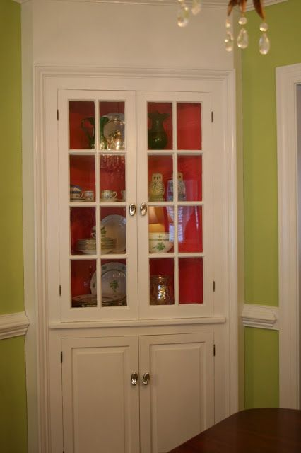 Painted Shelves in Back of Built In China Cabinet