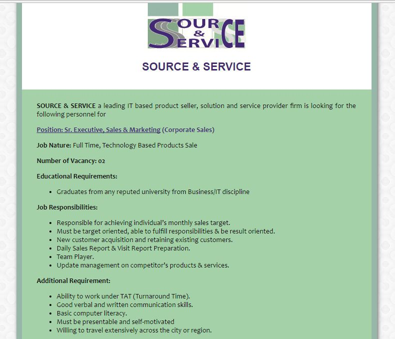 Source  Service  Sr Executive Sales  Marketing Corporate