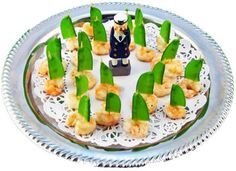 Marinated Shrimp with Snow Pea Sails   for kids party you could use chicken nuggets instead of shrimp