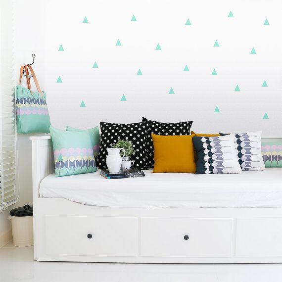 Triangle Wall decal Mint / Wall Triangles Vinyl Sticker / Wall Triangles Home decor / Triangle pattern mint green / Geometric wall decal