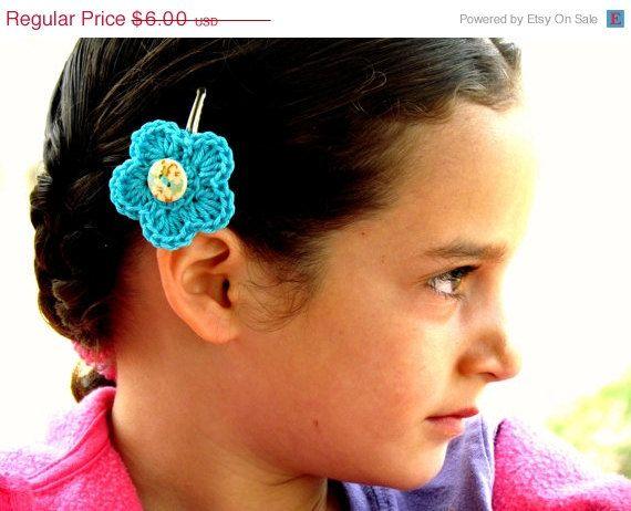 Birthday Sale Crochet Flower Hair Clips  Set of 2  by mialyne, $4.50