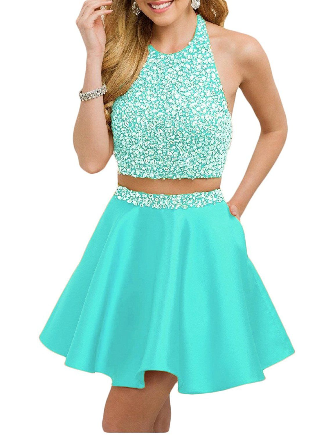 Favors womenus halter beaded two piece homecoming dress sexy prom