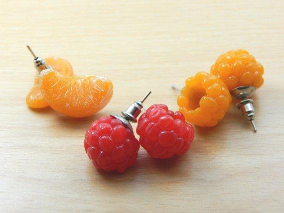Fruit earrings Gift wrap Yellow red earrings blueberries Red Berry earrings Polymer clay jewelry Berry earrings raspberries earrings