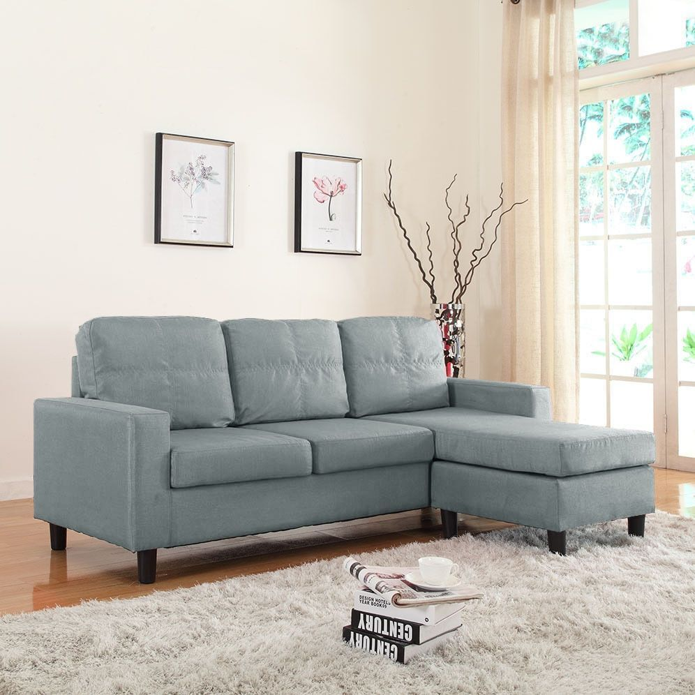 Pleasing Madison Small Space Linen Fabric Sectional Sofa With Short Links Chair Design For Home Short Linksinfo
