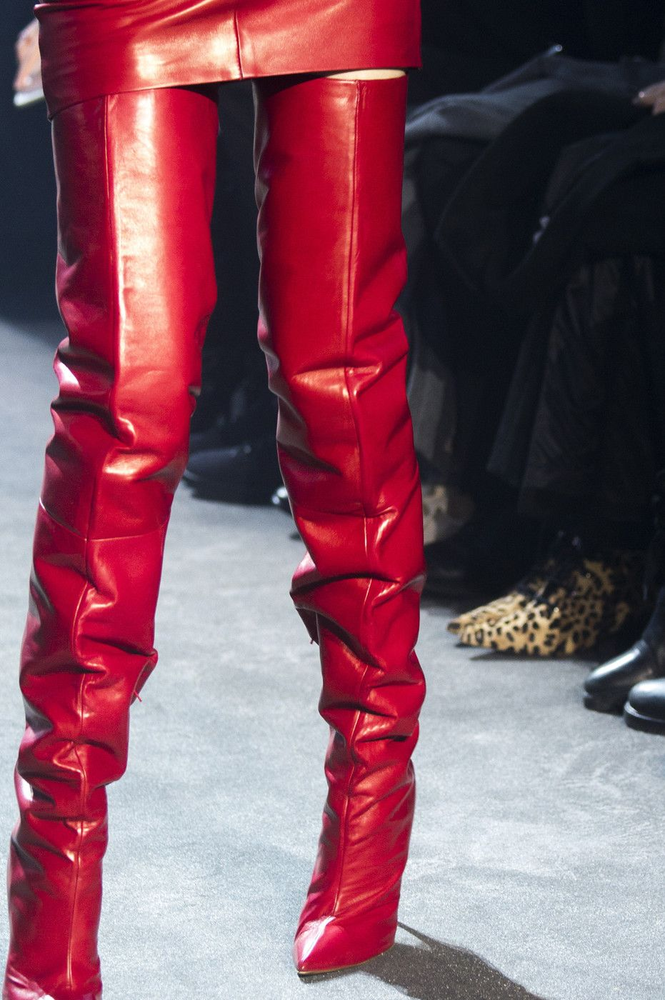79be4158ab2c3 Alexandre Vauthier at Couture Spring 2018 - Details Runway Photos slouchy  red thigh boots
