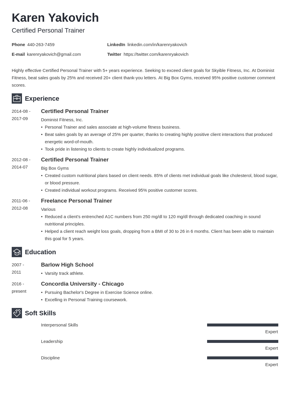 personal trainer resume example template newcast in 2020