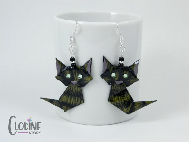 Photo of Origami Tortoiseshell Cat Earrings, Tortoiseshell cat, Origami cat, Cat jewelry, Origami jewelry, Paper crafted earrings, Hand painted,Black
