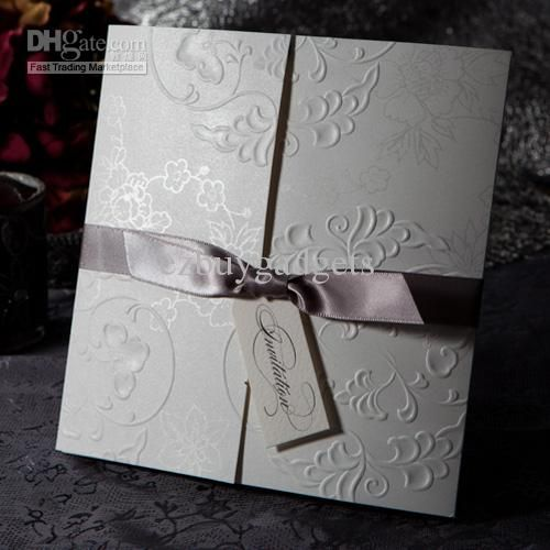 wholesale embossed tri fold invitations wedding engagement invitation cards with silver bows set of 50 free shipping 153 161piece dhgate