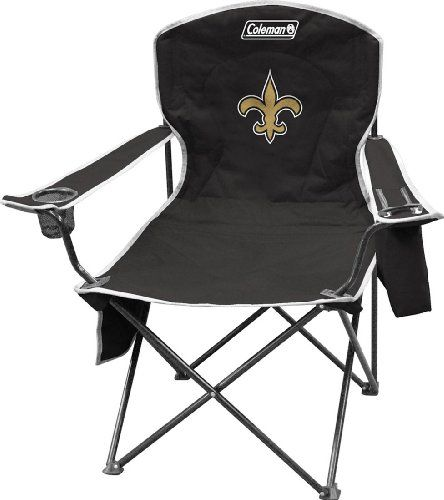 NFL Cooler Quad Chair  http://allstarsportsfan.com/product/nfl-cooler-quad-chair/?attribute_pa_teamname=new-orleans-saints  Features built in 4 to 6 can soft cooler, program pouch and cup holder Comes with team logo and carry case team logo printed on front and team name printed on back
