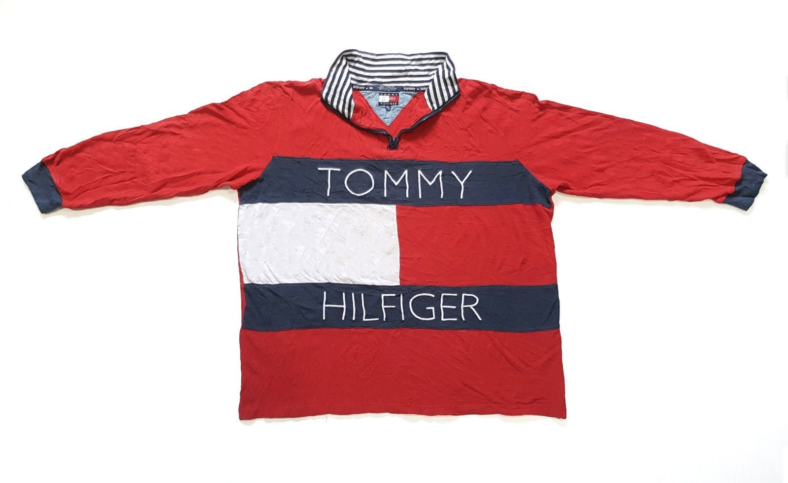 Vtg s tommy hilfiger big flag logo spell out color block long